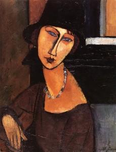 jeanne-hebuterne-con cappello e collana