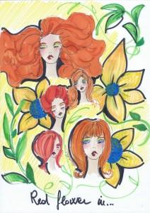 Rosse in fiore