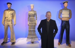 Designer Jean Paul Gaultier gives an interview at an exhibition of his works in the Brooklyn borough of New York