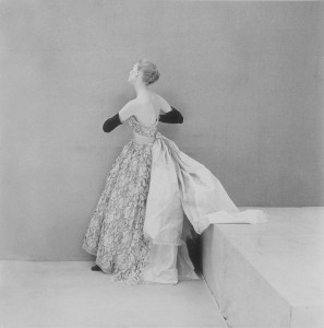 Model Wearing Balenciaga Satin and Lace Evening Gown
